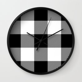 Big Black and White Buffalo Plaid Wall Clock