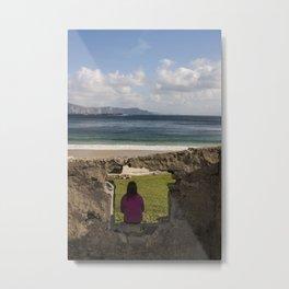 Woman sitting in silence and solitude Keem Beach Achill Island Mayo Ireland Metal Print