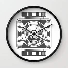Mechanical box motorcycle with cover in design fashion modern monochrome style illustration Wall Clock