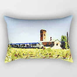 Pieve di Tho: kiwi field with train and church Rectangular Pillow