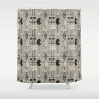 video game Shower Curtains featuring Paper Cut-Out Video Game Controllers by Jaana Baker