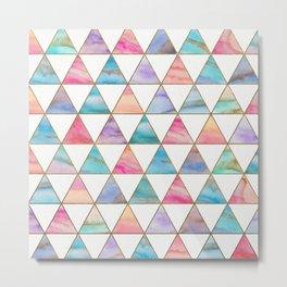 Marble Triangles Pattern Metal Print