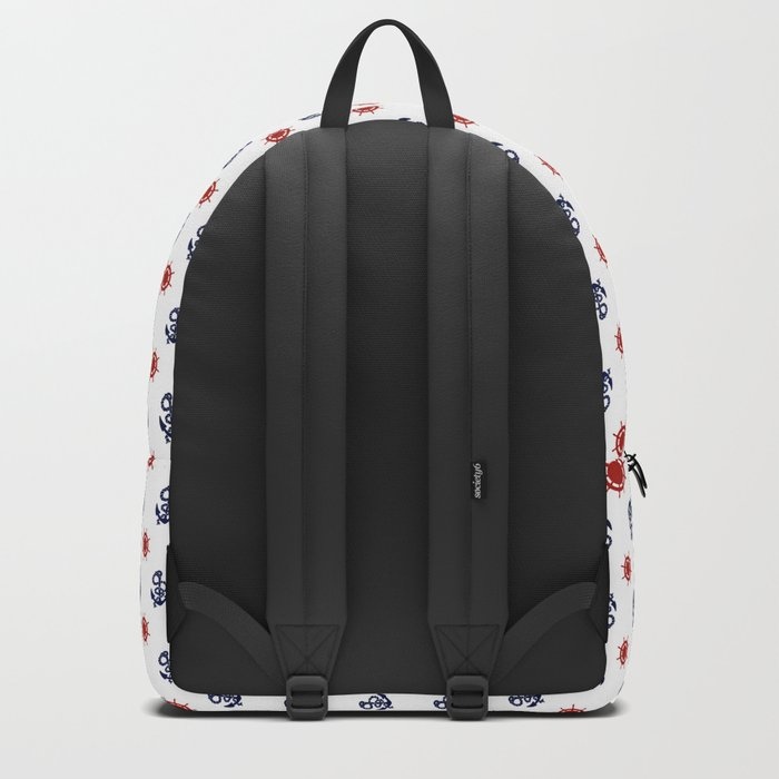 Maritime Seaside Beach Pattern - Anchors and Wheels - Mix & Match with Simplicity of life Backpack