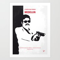 entourage Art Prints featuring No526 My MEDELLIN minimal movie poster by Chungkong