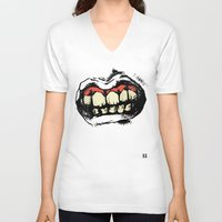 teeth V-neck T-shirts featuring TEETH! by Helena Bowie Banshees