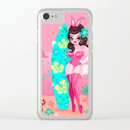 Hawaii Burlesque Festival Beach Bunny Clear iPhone Case