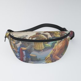 Shawnee & Chickasaw Native American Tribes meeting Missouri Frontier Settlers landscape by Thomas Hart Benton Fanny Pack