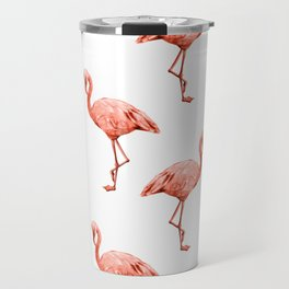 Simply Pink Flamingo in Deep Coral on White Travel Mug
