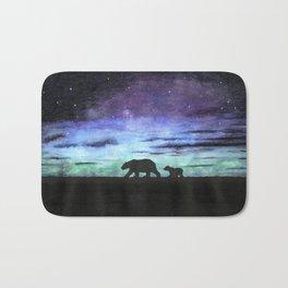 Aurora borealis and polar bears (black version) Bath Mat