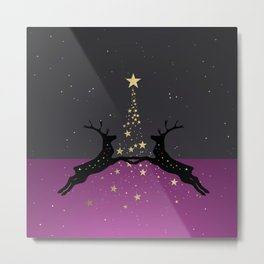 Champagne Gold Star Christmas Tree with Magical Reindeers | Romantic Pink Metal Print