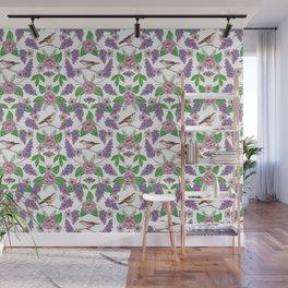 Lilacs, Peonies, Hellebore, & Sparrows - Pink & Purple Flowers w/ Birds & Moths Wall Mural