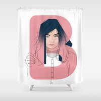 bjork Shower Curtains featuring B of Bjork by David Alegria