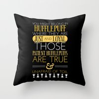 hufflepuff Throw Pillows featuring Hufflepuff by Dorothy Leigh