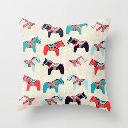 Cute Dala Horses Print Throw Pillow