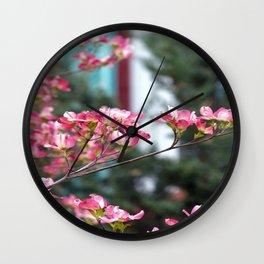 Pink Dogwood Wall Clock