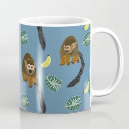 Squirrel Monkeys, Jungle Leaves, and Bananas Pattern Coffee Mug