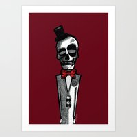 gentleman Art Prints featuring Gentleman by Skullmuffins