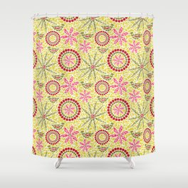 Birds and Flowers Mosaic - Yellow, green and pink Shower Curtain