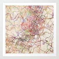 austin Art Prints featuring Austin by MapMapMaps.Watercolors
