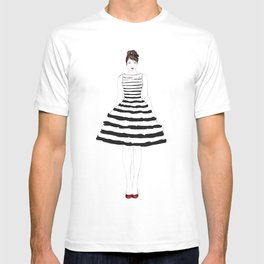 Fashion illustration stripes dress in black and white T-shirt