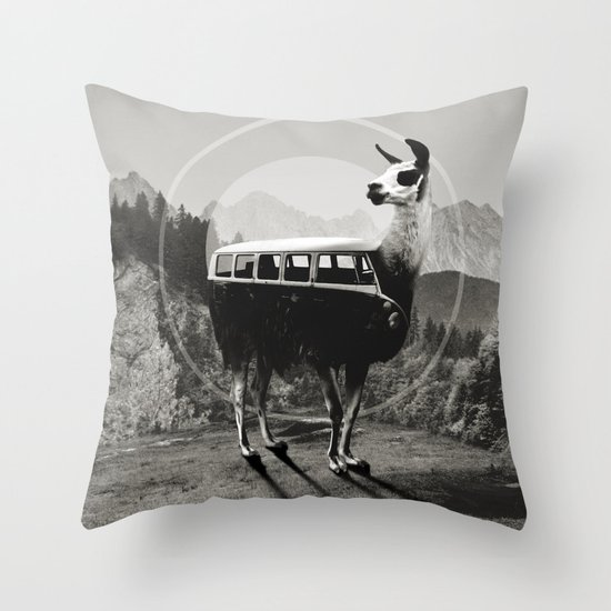 Llama B&W Throw Pillow