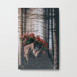 Rhino and flowers Metal Print