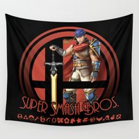 super smash bros Wall Tapestries featuring Ike - Super Smash Bros. by Donkey Inferno