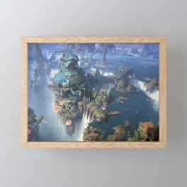 cliff waterfall digital art ship fantasy art mushroom river city fantasy city fantasy architecture lok du Framed Mini Art Print