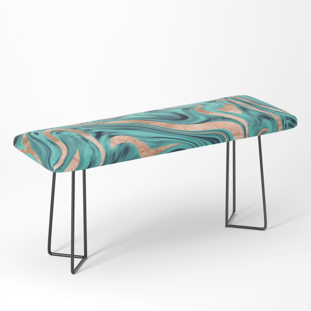 Soft_Turquoise_Rose_Gold_Marble_#1_Decor_Art_Society6_Bench_by_anitabellajantz