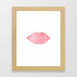 red lips Framed Art Print