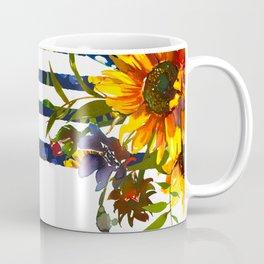 Yellow orange watercolor hand painted modern sunflowers stripes Coffee Mug