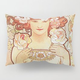 Rose by Alphonse Mucha 1897 // Vintage Girl with Red Hair Floral Love Design Pillow Sham