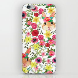 Easter rabbit with spring flowers, watercolor iPhone Skin