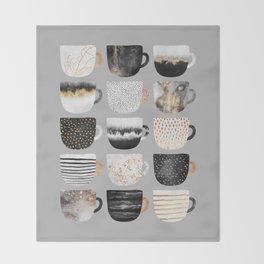 Pretty Coffe Cups 3 - Grey Throw Blanket