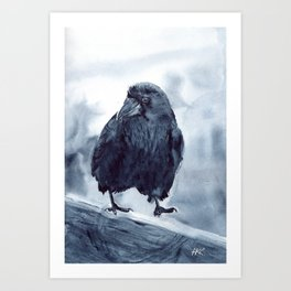 The Crow Watercolor painting Art Print
