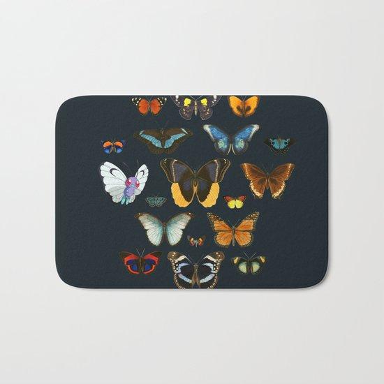 Entomology Vintage Butterfly Bath Mat