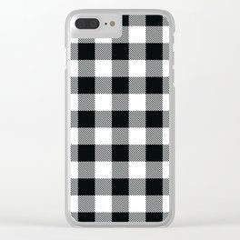Buffalo Check Black White Plaid Pattern Clear iPhone Case