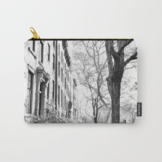 Cobble Hill Brooklyn Winter Black and White Brownstone Carry-All Pouch