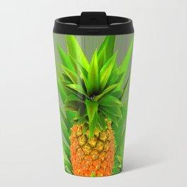 MODERN  GOLDEN  HAWAIIAN PINEAPPLE GREY ART Travel Mug