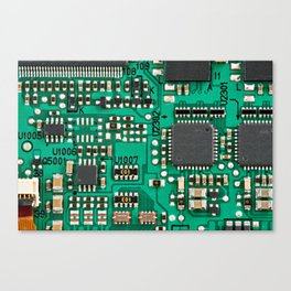 Electronic circuit board with processor Canvas Print