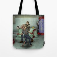 last of us Tote Bags featuring The Last of Us by Luis Lara