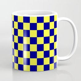 Electric Yellow and Navy Blue Checkerboard Coffee Mug