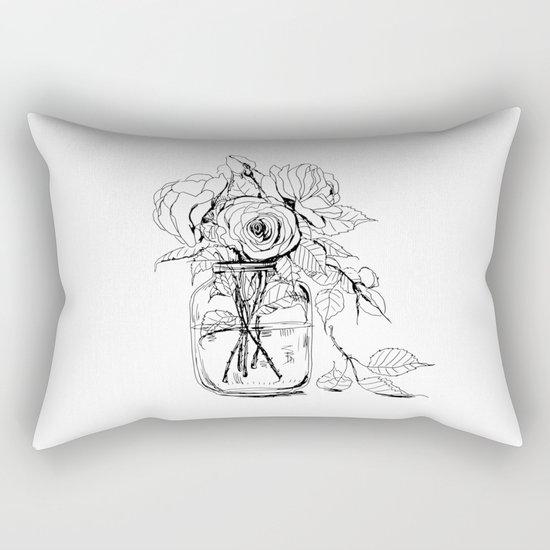 Rose flowers bouquet in a jar Rectangular Pillow