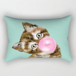 Bubble Gum Baby Cat in Green Rectangular Pillow