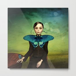 Butterfly Portrait in the meadow Metal Print