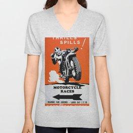 Vintage Motorcycle Poster Unisex V-Neck