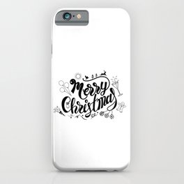Wall art of Merry Christmas lettering with accessory for celebration. iPhone Case