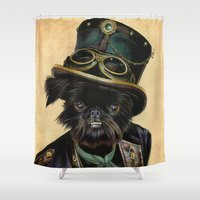 kirby Shower Curtains featuring Sir Cornelius Kirby (steampunk) by Cecil Porter Studios