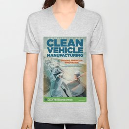 US Department of Energy LPO Poster - Clean Vehicle Manufacturing (2016) Unisex V-Neck