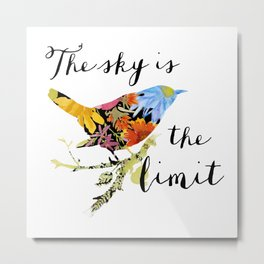 Bird Filled with Watercolor Flowers and Saying Metal Print